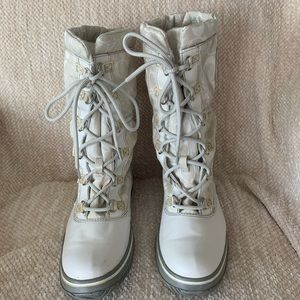 Coach White Lace Up Boots